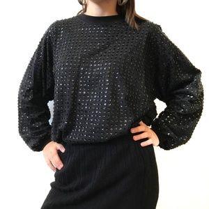 VINTAGE GENE EWING BIS Sequin Sweater